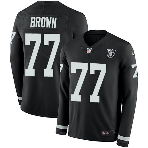 Nike Raiders #77 Trent Brown Black Team Color Youth Stitched NFL Limited Therma Long Sleeve Jersey