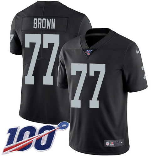 Nike Raiders #77 Trent Brown Black Team Color Youth Stitched NFL 100th Season Vapor Untouchable Limited Jersey