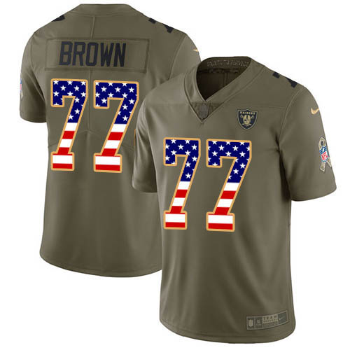 Nike Raiders #77 Trent Brown Olive/USA Flag Youth Stitched NFL Limited 2017 Salute To Service Jersey