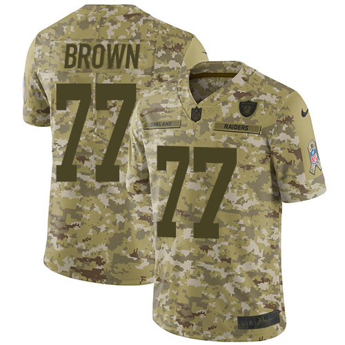 Nike Raiders #77 Trent Brown Camo Youth Stitched NFL Limited 2018 Salute To Service Jersey