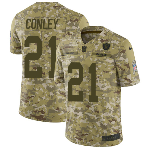 Nike Raiders #21 Gareon Conley Camo Youth Stitched NFL Limited 2018 Salute to Service Jersey