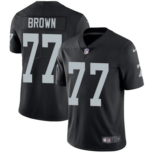 Nike Raiders #77 Trent Brown Black Team Color Youth Stitched NFL Vapor Untouchable Limited Jersey