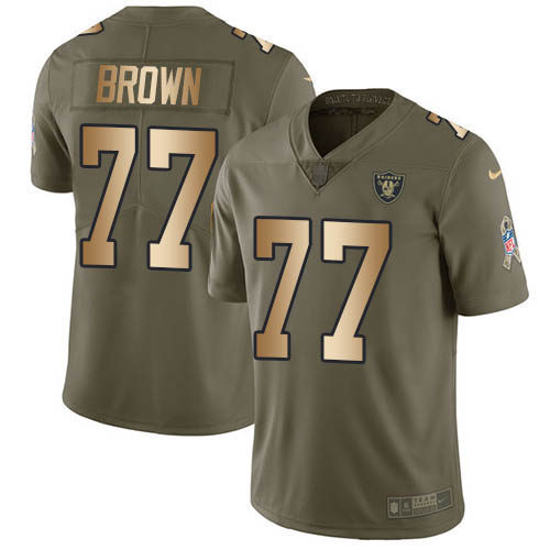 Nike Raiders #77 Trent Brown Olive/Gold Youth Stitched NFL Limited 2017 Salute To Service Jersey
