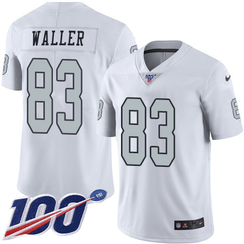Nike Raiders #83 Darren Waller White Youth Stitched NFL Limited Rush 100th Season Jersey