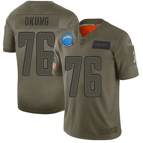 Nike Chargers #76 Russell Okung Camo Youth Stitched NFL Limited 2019 Salute to Service Jersey