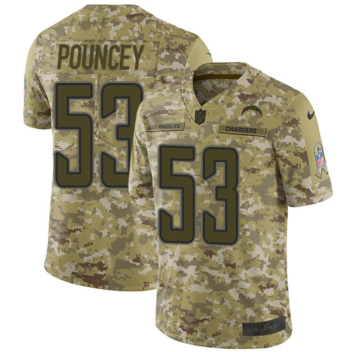 Nike Chargers #53 Mike Pouncey Camo Youth Stitched NFL Limited 2018 Salute to Service Jersey