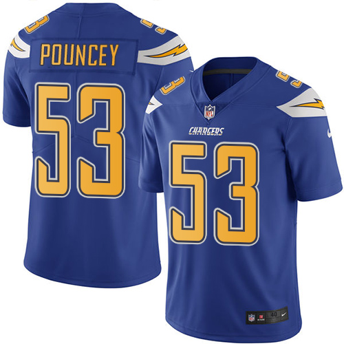 Nike Chargers #53 Mike Pouncey Electric Blue Youth Stitched NFL Limited Rush Jersey