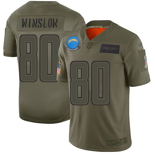 Nike Chargers #80 Kellen Winslow Camo Youth Stitched NFL Limited 2019 Salute to Service Jersey