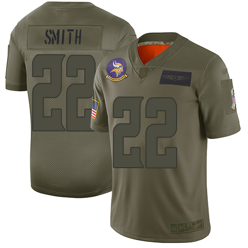 Nike Vikings #22 Harrison Smith Camo Youth Stitched NFL Limited 2019 Salute to Service Jersey