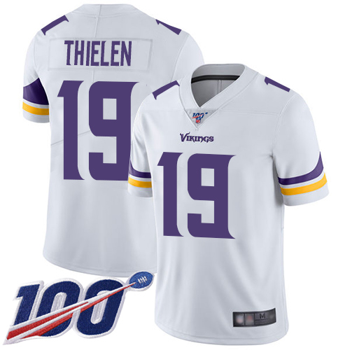 Nike Vikings #19 Adam Thielen White Youth Stitched NFL 100th Season Vapor Limited Jersey