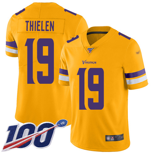 Nike Vikings #19 Adam Thielen Gold Youth Stitched NFL Limited Inverted Legend 100th Season Jersey