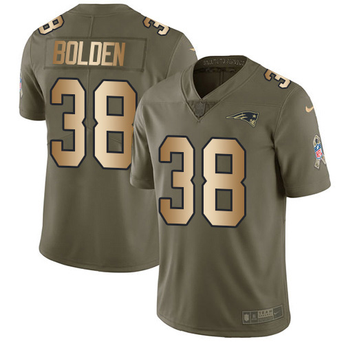 Nike Patriots #38 Brandon Bolden Olive/Gold Youth Stitched NFL Limited 2017 Salute to Service Jersey