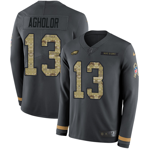 Nike Eagles #13 Nelson Agholor Anthracite Salute to Service Youth Stitched NFL Limited Therma Long Sleeve Jersey