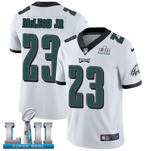 Nike Eagles #23 Rodney McLeod Jr White Super Bowl LII Youth Stitched NFL Vapor Untouchable Limited Jersey