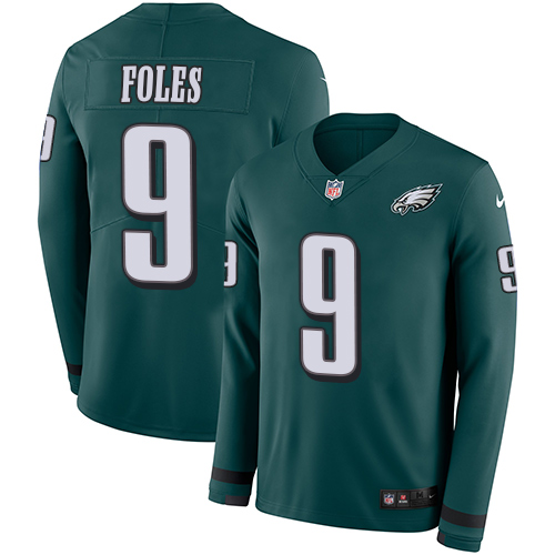 Nike Eagles #9 Nick Foles Midnight Green Team Color Youth Stitched NFL Limited Therma Long Sleeve Jersey