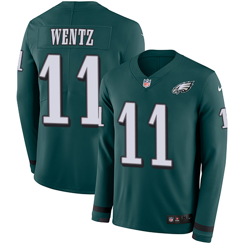 Nike Eagles #11 Carson Wentz Midnight Green Team Color Youth Stitched NFL Limited Therma Long Sleeve Jersey