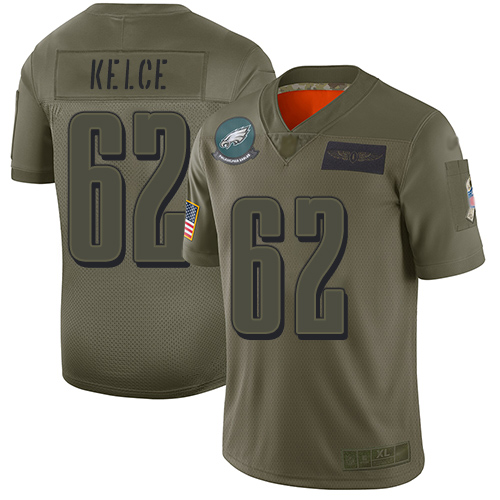 Nike Eagles #62 Jason Kelce Camo Youth Stitched NFL Limited 2019 Salute to Service Jersey