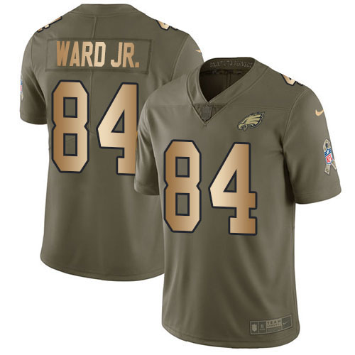 Nike Eagles #84 Greg Ward Jr. Olive/Gold Youth Stitched NFL Limited 2017 Salute To Service Jersey