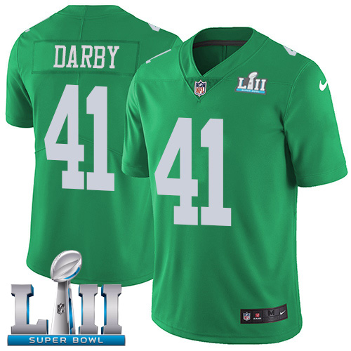 Nike Eagles #41 Ronald Darby Green Super Bowl LII Youth Stitched NFL Limited Rush Jersey
