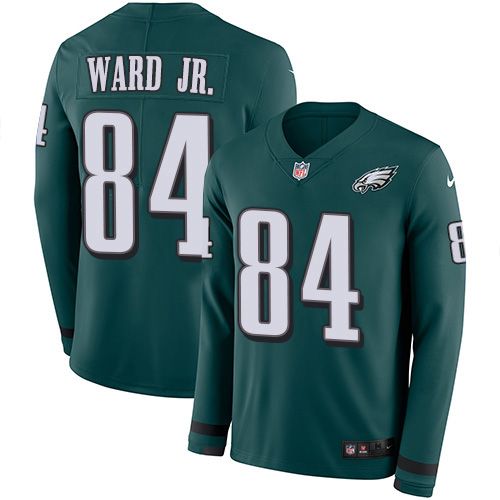 Nike Eagles #84 Greg Ward Jr. Green Team Color Youth Stitched NFL Limited Therma Long Sleeve Jersey