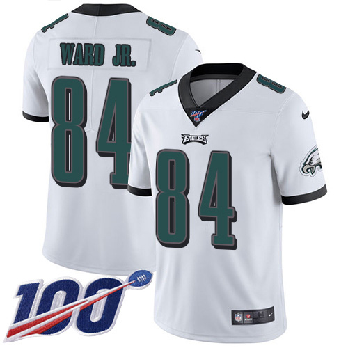 Nike Eagles #84 Greg Ward Jr. White Youth Stitched NFL 100th Season Vapor Untouchable Limited Jersey