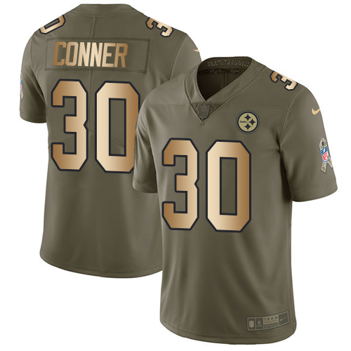 Nike Steelers #30 James Conner Olive/Gold Youth Stitched NFL Limited 2017 Salute to Service Jersey