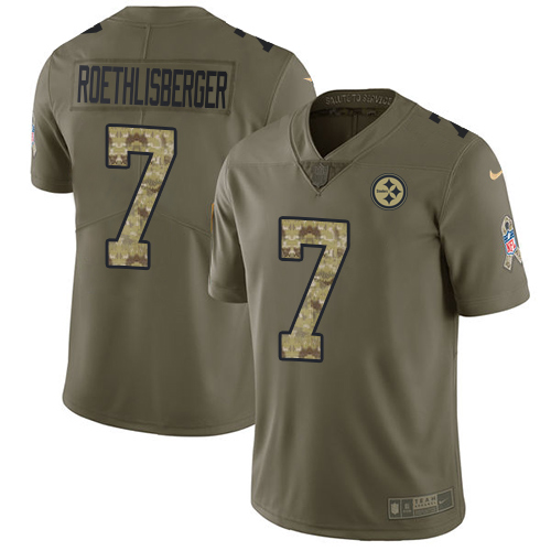 Nike Steelers #7 Ben Roethlisberger Olive/Camo Youth Stitched NFL Limited 2017 Salute to Service Jersey