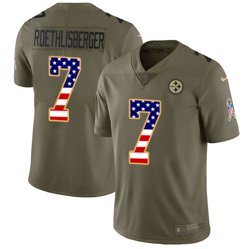 Nike Steelers #7 Ben Roethlisberger Olive/USA Flag Youth Stitched NFL Limited 2017 Salute to Service Jersey