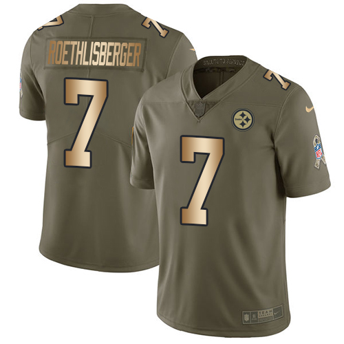 Nike Steelers #7 Ben Roethlisberger Olive/Gold Youth Stitched NFL Limited 2017 Salute to Service Jersey