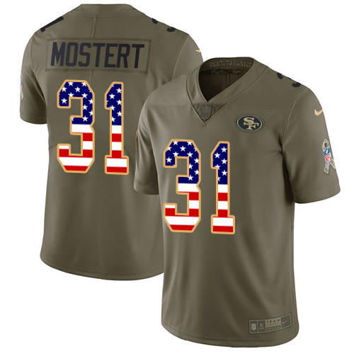 Nike 49ers #31 Raheem Mostert Olive/USA Flag Youth Stitched NFL Limited 2017 Salute To Service Jersey