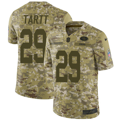 Nike 49ers #29 Jaquiski Tartt Camo Youth Stitched NFL Limited 2018 Salute to Service Jersey