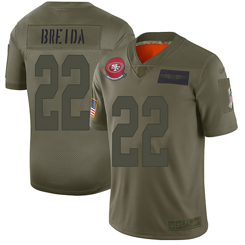 Nike 49ers #22 Matt Breida Camo Youth Stitched NFL Limited 2019 Salute to Service Jersey