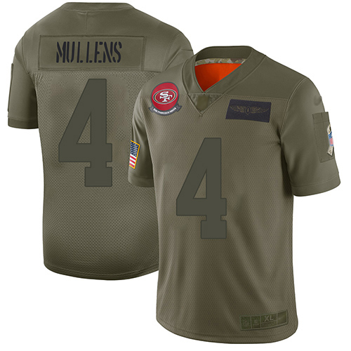 Nike 49ers #4 Nick Mullens Camo Youth Stitched NFL Limited 2019 Salute to Service Jersey