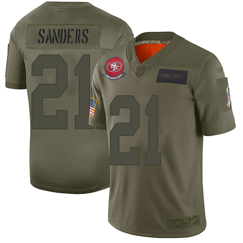 Nike 49ers #21 Deion Sanders Camo Youth Stitched NFL Limited 2019 Salute to Service Jersey