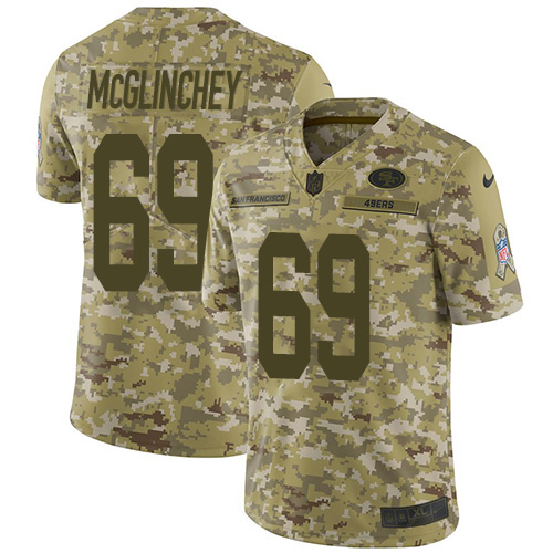 Nike 49ers #69 Mike McGlinchey Camo Youth Stitched NFL Limited 2018 Salute to Service Jersey