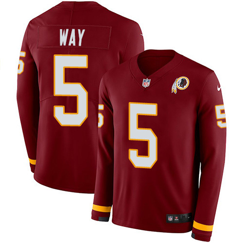 Nike Redskins #5 Tress Way Burgundy Team Color Youth Stitched NFL Limited Therma Long Sleeve Jersey