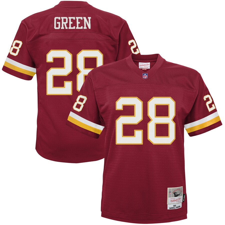 Youth Washington Redskins #28 Darrell Green Mitchell & Ness Burgundy 1991 Legacy Retired Player Jersey