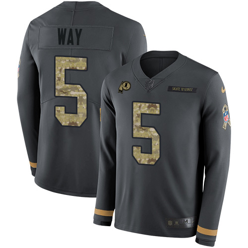 Nike Redskins #5 Tress Way Anthracite Salute to Service Youth Stitched NFL Limited Therma Long Sleeve Jersey