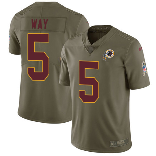 Nike Redskins #5 Tress Way Olive Youth Stitched NFL Limited 2017 Salute To Service Jersey