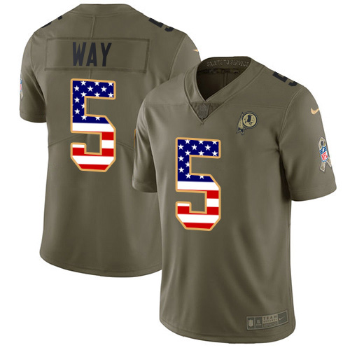 Nike Redskins #5 Tress Way Olive/USA Flag Youth Stitched NFL Limited 2017 Salute To Service Jersey