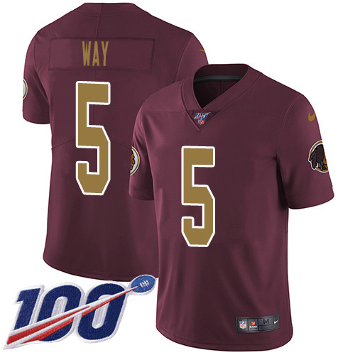 Nike Redskins #5 Tress Way Burgundy Alternate Youth Stitched NFL 100th Season Vapor Untouchable Limited Jersey