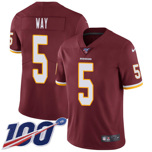 Nike Redskins #5 Tress Way Burgundy Team Color Youth Stitched NFL 100th Season Vapor Untouchable Limited Jersey