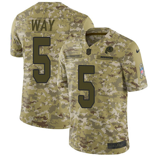 Nike Redskins #5 Tress Way Camo Youth Stitched NFL Limited 2018 Salute To Service Jersey