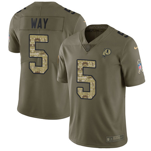 Nike Redskins #5 Tress Way Olive/Camo Youth Stitched NFL Limited 2017 Salute To Service Jersey