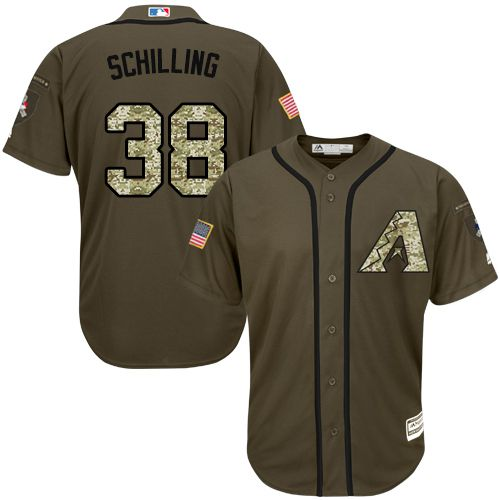 Diamondbacks #38 Curt Schilling Green Salute to Service Stitched Youth MLB Jersey