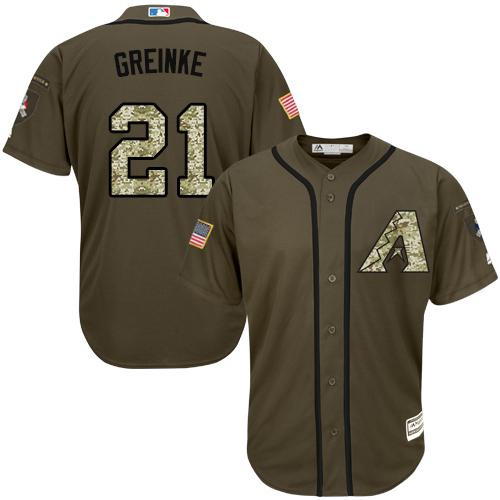 Diamondbacks #21 Zack Greinke Green Salute to Service Stitched Youth MLB Jersey
