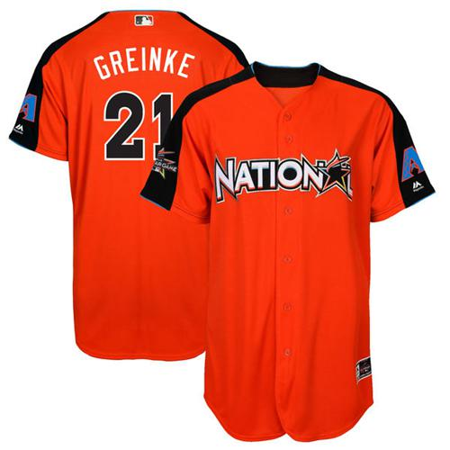 Diamondbacks #21 Zack Greinke Orange 2017 All-Star National League Stitched Youth MLB Jersey