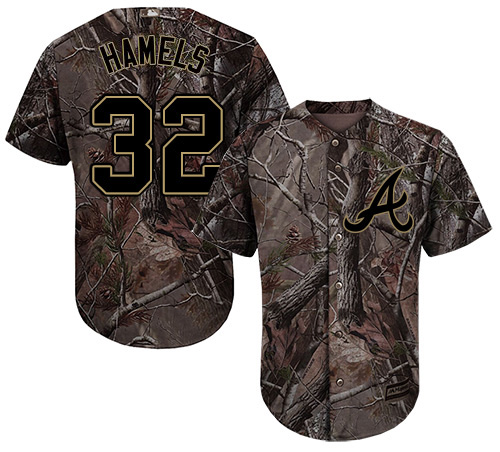 Braves #32 Cole Hamels Camo Realtree Collection Cool Base Stitched Youth MLB Jersey
