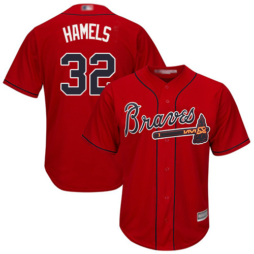 Braves #32 Cole Hamels Red New Cool Base Stitched Youth MLB Jersey