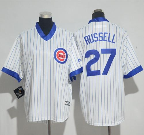 Cubs #27 Addison Russell White(Blue Strip) Cooperstown Stitched Youth MLB Jersey
